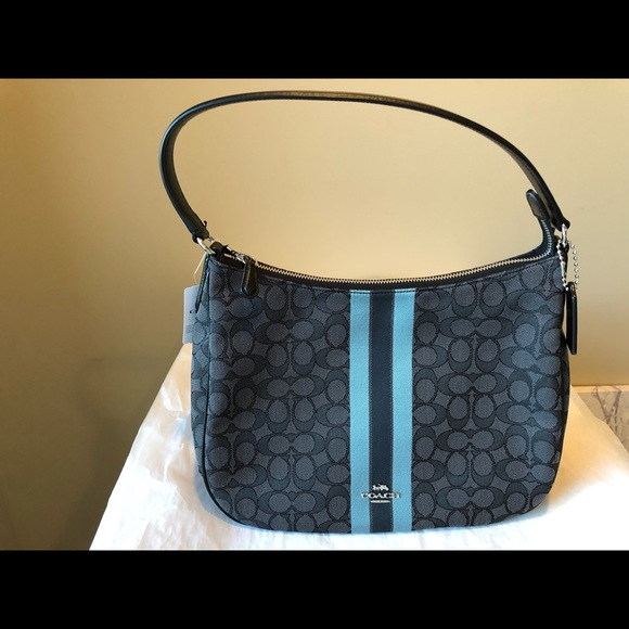 4f05b224b6 Coach Signature Jacquard Zip Shoulder Bag